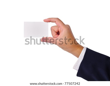 Business man's hand and a card isolated on white - stock photo