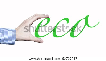 Business man's hand holding the word eco. - stock photo
