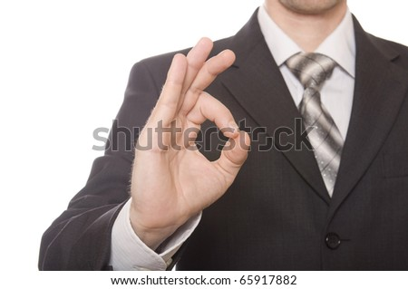 Business man's hand make OK isolated on white background - stock photo