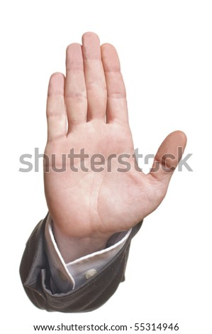 business man's hand make stop symbol