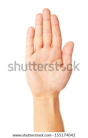 business man's hand make stop symbol isolated on white - stock photo