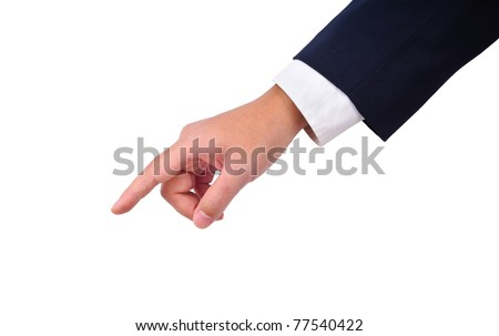 Business man's hand  pointing down isolated on white - stock photo