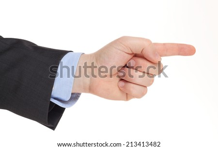 Business man's hand pointing right  , isolated on white - stock photo