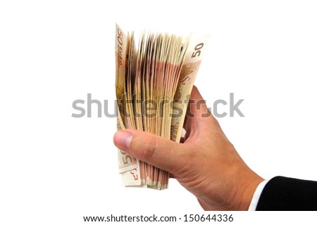 business man's hand showing cash - stock photo