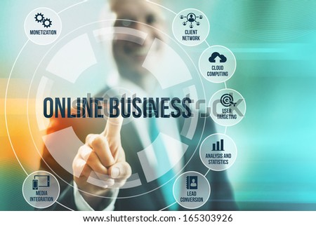 Business man selecting online business concepts - stock photo