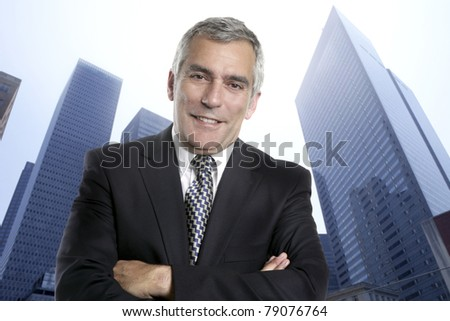 Business man senior urban city modern office buildings downtown suit tie [Photo Illustration] - stock photo