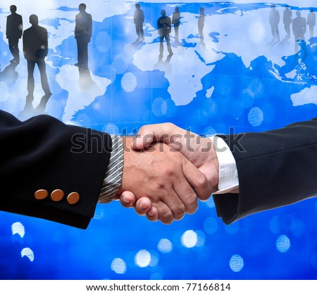 Business man shake hands - stock photo