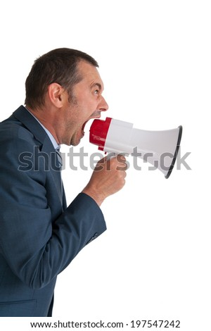 business man shouting into a megaphone on white background - stock photo