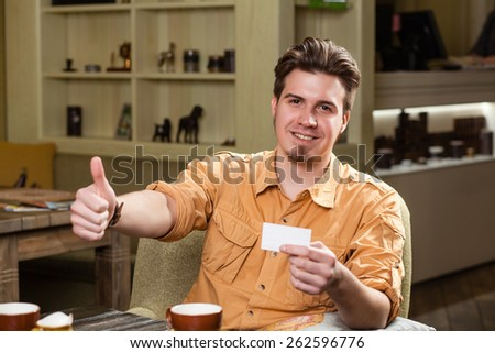 Business man show board, banner with copy space.  - stock photo