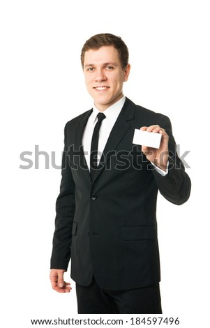 business man show card isolated on white background