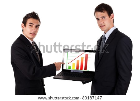 business man show on laptop with chart, isolated on white background - stock photo