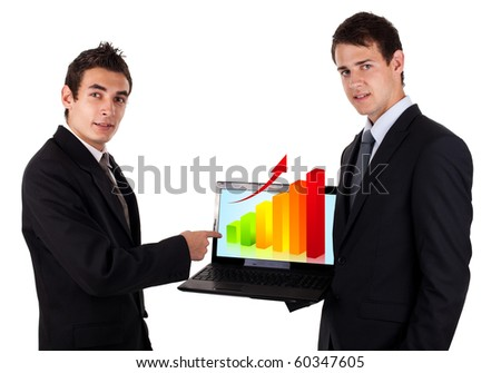 business man show on laptop with chart 2, isolated on white background - stock photo