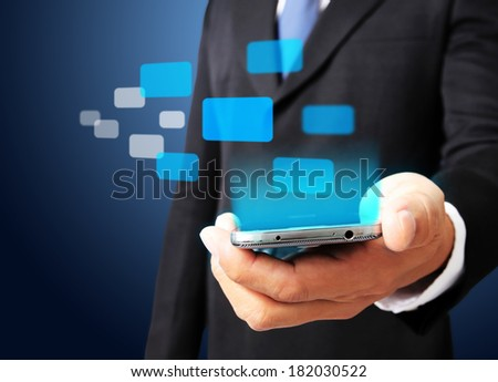 Business man show smart phone with virtual digital network interface