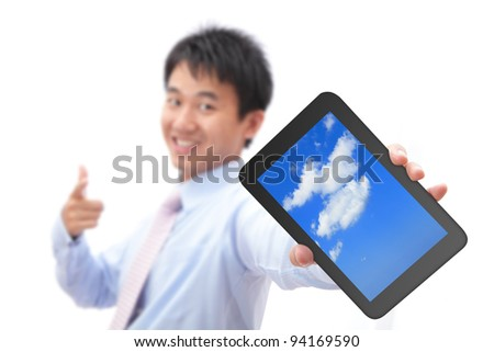 Business man show tablet pc with smile (tablet pc screen display sky and cloud), for cloud computing concept - stock photo