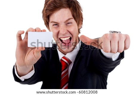 Business man showing a blank business card and giving the ok - stock photo