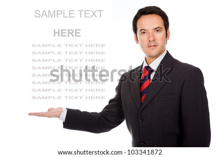 Business man showing and presenting copy space on white background - stock photo