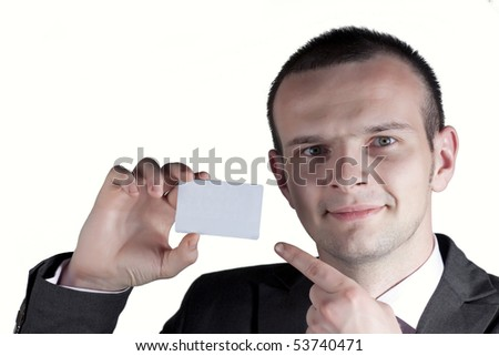 Business man showing his card - stock photo