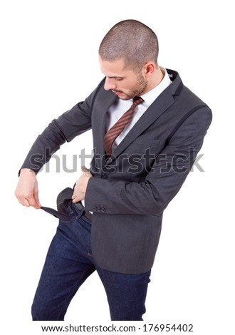 business man showing his empty pocket, isolated - stock photo