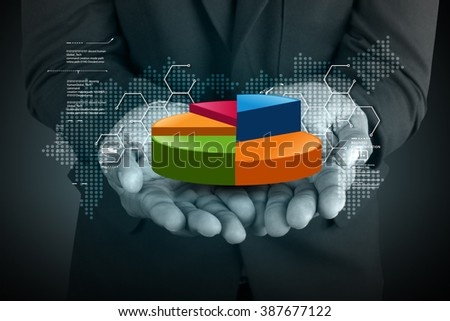 Business man showing pie chart in color background - stock photo