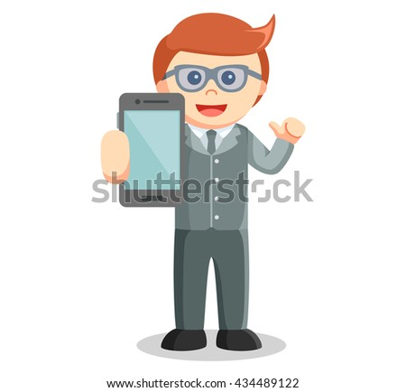 Business man showing smartphone - stock photo
