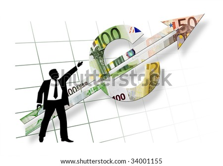 business man silhouette showing direction of euro pointer on white background with dissolving grid