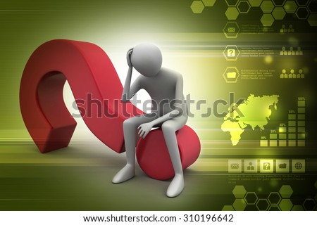 Business man sitting on a question mark in color background - stock photo