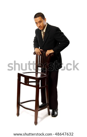 Business Man sitting on chair isolated on white background - stock photo
