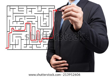 business man solved the maze on virtual screen concept for success - stock photo