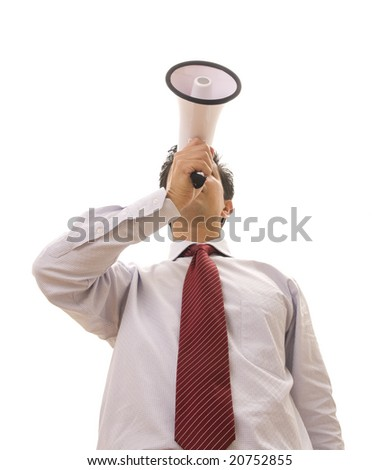 Business man speaking with a megaphone