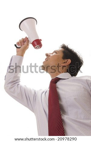 business man speaking with a megaphone - stock photo
