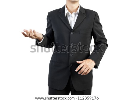 business man standing and presents on white background