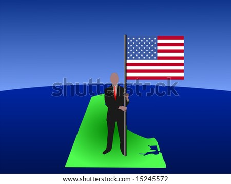 Business Man Standing On Map Of Delaware With Flag Jpg