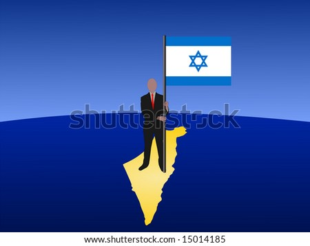 business man standing on map of Israel with flag JPG