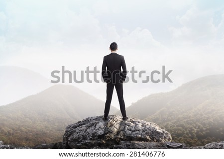 Business man standing on the top of the mountain looking at the valley. Business success concept - stock photo