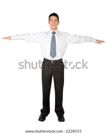 business man standing with arms open over a white background - stock photo