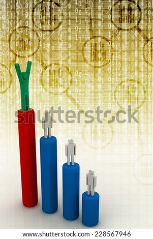 Business man standing with arms wide open on top of growth business graph with target over white background, business concept  - stock photo