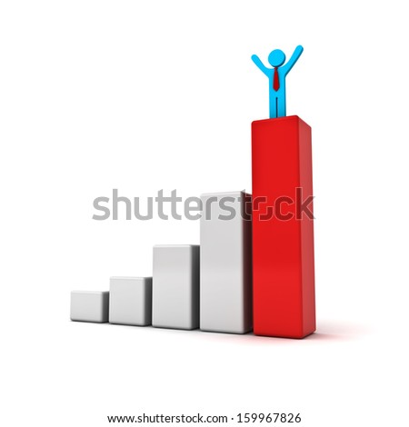 Business man standing with arms wide open up on top of growth business red bar graph isolated over white background