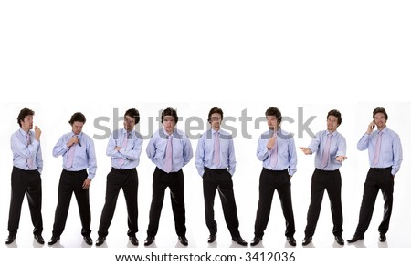 business man standing with diferrent expressions on white background