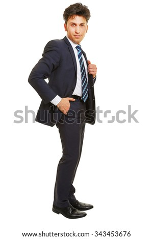 Business man standing with his hand in his trouser pocket isolated on white