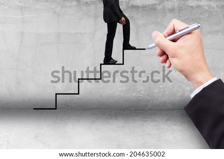 business man stepping ladder drawn by hand with pen idea concept for success and growth business - stock photo