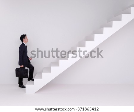 Business man stepping up on stairs with wall background - stock photo