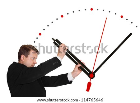 Business man stop time isolated on white background - stock photo