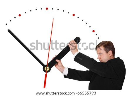 Business man stop time isolated on white background