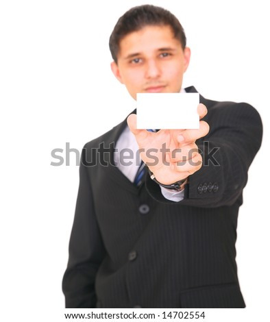 business man stretching out his arm, presenting empty business card. isolated on white background - stock photo