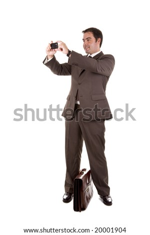 business man taking a photo with his camera phone - stock photo