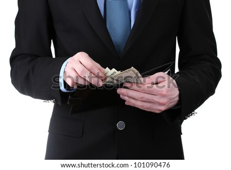 business man taking money in wallet isolated on white