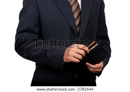 Business man taking out his credit card with clipping path