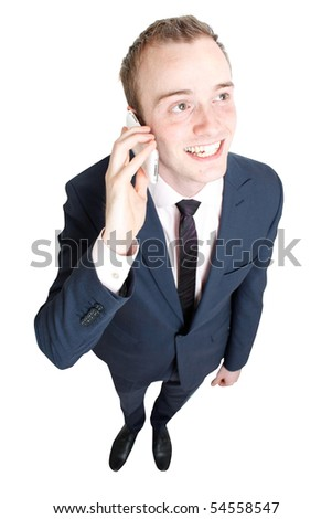 Business man talking in cell phone - stock photo