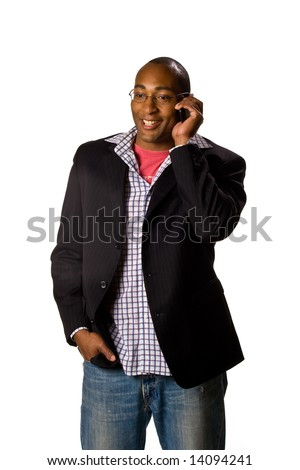 Business man talking on cell phone. Pleasant Look. One White. Business Casual Look