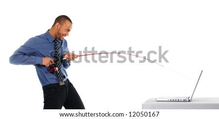 business man thief going phishing on the internet - stock photo